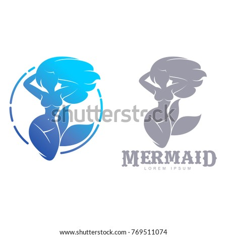 blue gray graphic mermaid logo templates stock vector royalty free