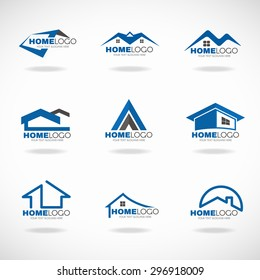 Blue and gray Home logo set vector design