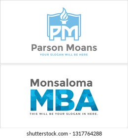 Blue gray line art monument torchlight fire combination mark logo design concept suitable for institution business retail education government