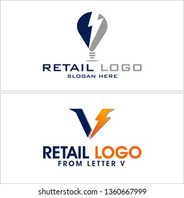 Blue gray orange line art bulb lightning letter V combination mark logo design concept suitable for retail electronic maintenance services customers