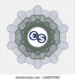 Blue and green abstract rosette with currency exchange icon inside
