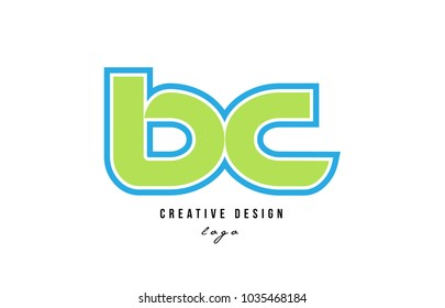 blue green alphabet letter bc b c logo design suitable for a company or business