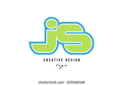 blue green alphabet letter js j s logo design suitable for a company or business