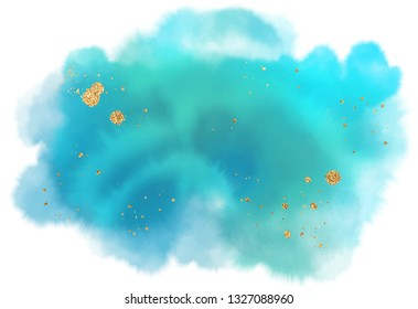 blue green aquarelle watercolor splash. isolated gold splatters overlay. soft gradient ink on white background.  ocean theme golden invitation template. eps 8