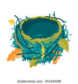 Blue and green autumn empty nest vector illustration