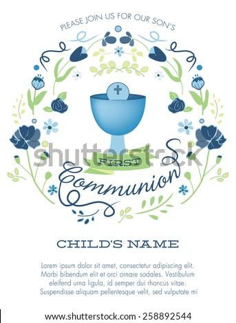 blue green boys first holy communion stock vector royalty free