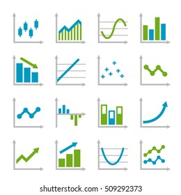 Blue and Green Business Graph Icons Set.