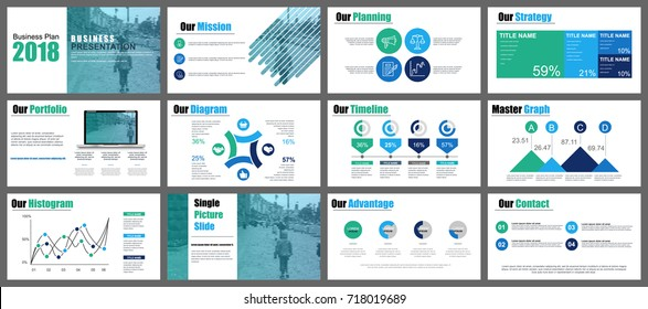 Blue and green business presentation slides templates from infographic elements. Can be used for presentation, flyer and leaflet, brochure, marketing, advertising, annual report, banner, booklet.