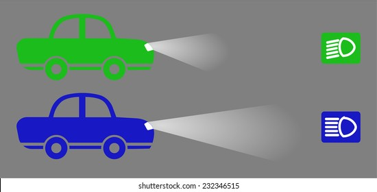 Blue And Green Color Car With Low Lights And High Beam Short, The Icon For