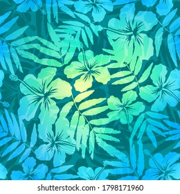 Blue and green colors hibiscus flowers and leaves silhouettes vector tropic summer floral pattern
