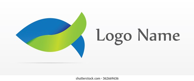 Blue - green fish, vector logo design, abstract icon.
