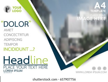 Blue and green flyer cover business brochure vector design, Leaflet advertising abstract background, Modern poster magazine layout template, Horizontal annual report for presentation.