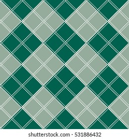 Blue Green Gray White Chess Board Christmas Background. Vector Illustration.