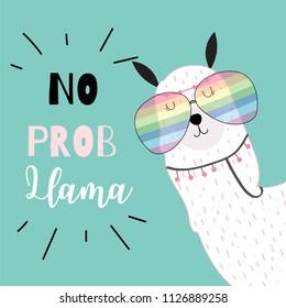 Blue green hand drawn cute card with llama,glasses in summer.No prob llama