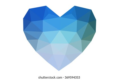 Blue, green heart isolated on white background. Geometric rumpled triangular low poly origami style gradient graphic illustration. Vector polygonal design for your business.