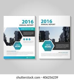 Blue Green hexagon Vector annual report Leaflet Brochure Flyer template design, book cover layout design, Abstract hexagon blue presentation templates