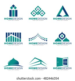 Blue green Home modern and boutique logo vector set design