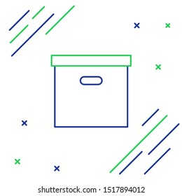 Blue and green line Carton cardboard box icon on white background. Box, package, parcel sign. Delivery and packaging. Transportation and shipping. Colorful outline concept. Vector Illustration