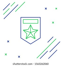 Blue and green line Chevron icon isolated on white background. Military badge sign. Colorful outline concept. Vector Illustration