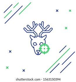 Blue and green line Hunt on deer with crosshairs icon isolated on white background. Hunting club logo with deer and target. Rifle lens aiming a deer. Colorful outline concept. Vector Illustration