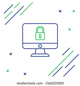 Blue and green line Lock on computer monitor screen icon isolated on white background. Security, safety, protection concept. Safe internetwork. Colorful outline concept. Vector Illustration