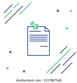 Blue and green line Note paper with pinned pushbutton icon isolated on white background. Memo paper sign. Colorful outline concept. Vector Illustration