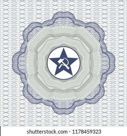 Blue and green linear rosette with communism icon inside