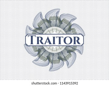 Blue and green linear rosette with text Traitor inside