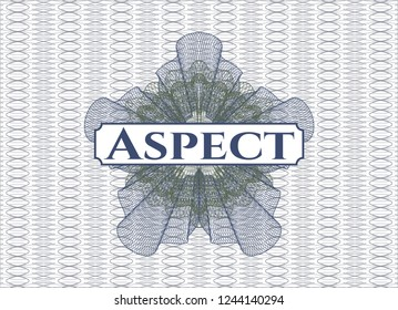 Blue and green linear rosette with text Aspect inside