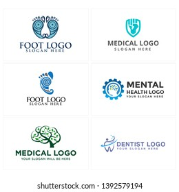 Blue green logo design illustration foot tree and gear combined head human brain leaf suitable for medical pharmaceutical dentist doctor hospital