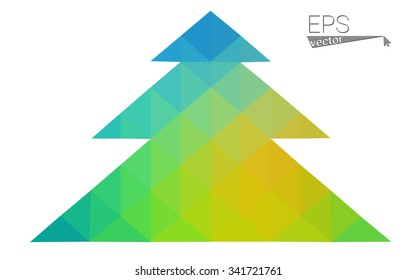 Blue, green low poly style christmas tree vector illustration consisting of triangles. Abstract triangular polygonal origami or crystal design of New Years celebration. Isolated on white background