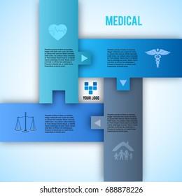 Blue green medical background - concept health care or medicine technology. Vector Illustration EPS 10 Graphic Design elements puzzle style banner, flyer dental service, presentation template brochure