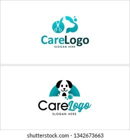 Blue green mint line art dog scissors bubble soap combination mark logo design concept suitable for pet shop animal care grooming mobile business veterinary