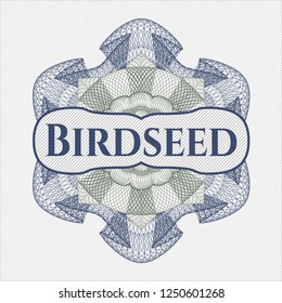Blue and green money style emblem or rosette with text Birdseed inside
