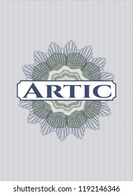 Blue and green money style rosette with text Artic inside