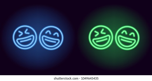 Blue and green neon laughing emoji, fool day. Vector silhouette of neon pair emoji with smile consisting of outlines, with backlight on the dark background
