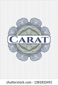 Blue and green passport money rosette with text Carat inside