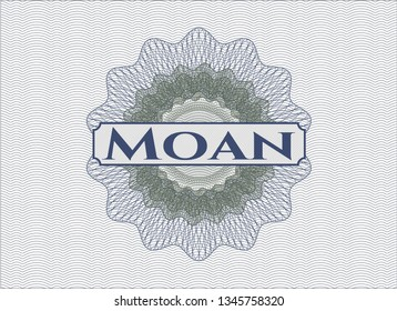 Blue and green passport rosette with text Moan inside
