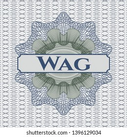 Blue and green passport rosette with text Wag inside