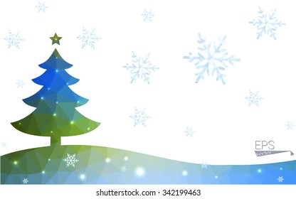 Blue, green postcard low polygon style christmas tree vector illustration consisting of triangles. Abstract polygonal origami or crystal design of New Years celebration. Isolated on white background.