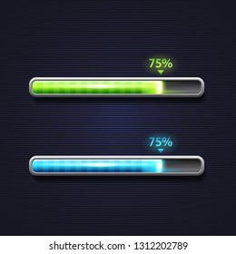 Blue and green progress bar, loading, template for app interface, indicator, vector illustration