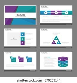 Blue Green purple presentation templates Infographic elements flat design set for brochure flyer leaflet marketing advertising