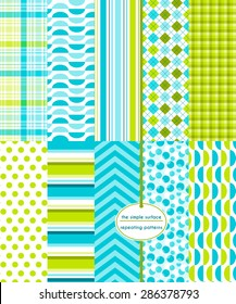 Blue and green repeating patterns for backgrounds, borders, fabric, scrapbook paper, gift wrap and more. File includes: bubble print, gingham/plaid, stripes, polka dots, chevron, argyle and more.