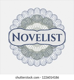 Blue and green rosette. Linear Illustration with text Novelist inside