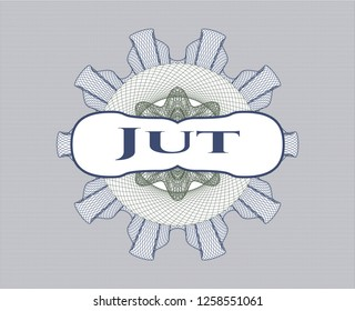 Blue and green rosette or money style emblem with text Jut inside