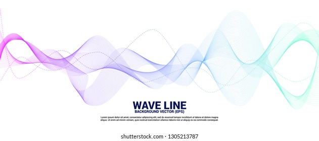 Blue and green Sound wave line curve on white background. Element for theme technology futuristic vector