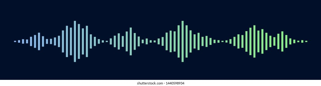 Blue and green sound waves as isolated on black background. Vector Illustration
