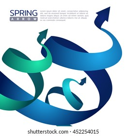 Blue and green Spring arrow abstract sign vector design