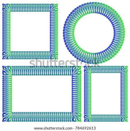 Blue Green Square Round Rectangular Frame Stock Vector Royalty Free
