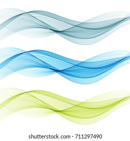 Blue and green transparent waves set.Abstract waves background